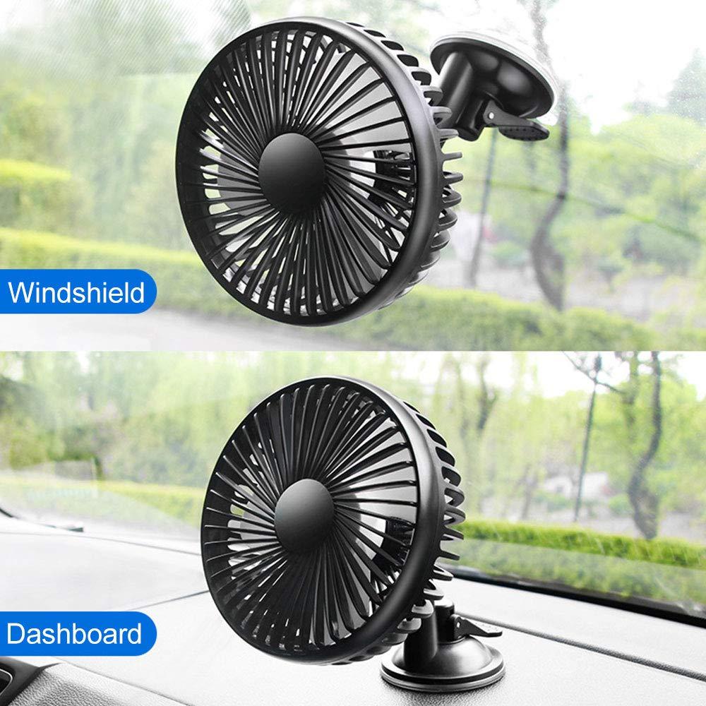 Ventilateur de Voiture en vitre LISRUI Ventilateur de Voiture USB Universel avec Commande /à 3 Vitesses Ventilateur de Voiture r/églable avec Ventouse