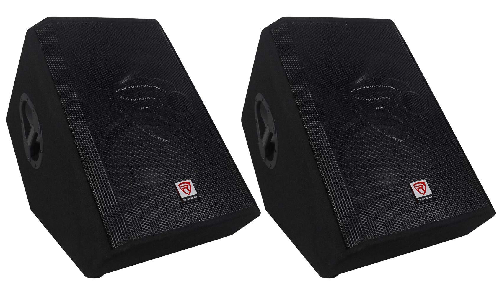 (2) Rockville RSM12P 12'' 1000 Watt 2-Way Passive Stage Floor Monitor Speakers by Rockville