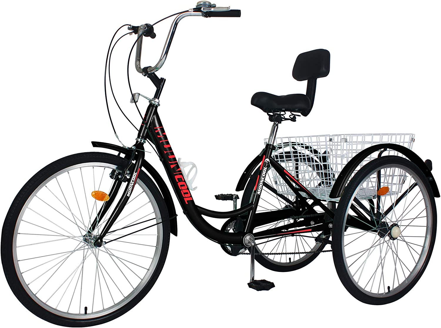 "Unisex Adult 24/"" 3-Wheel Trike Bicycle Shimano 7-Speed Tricycle Bike Cruise"