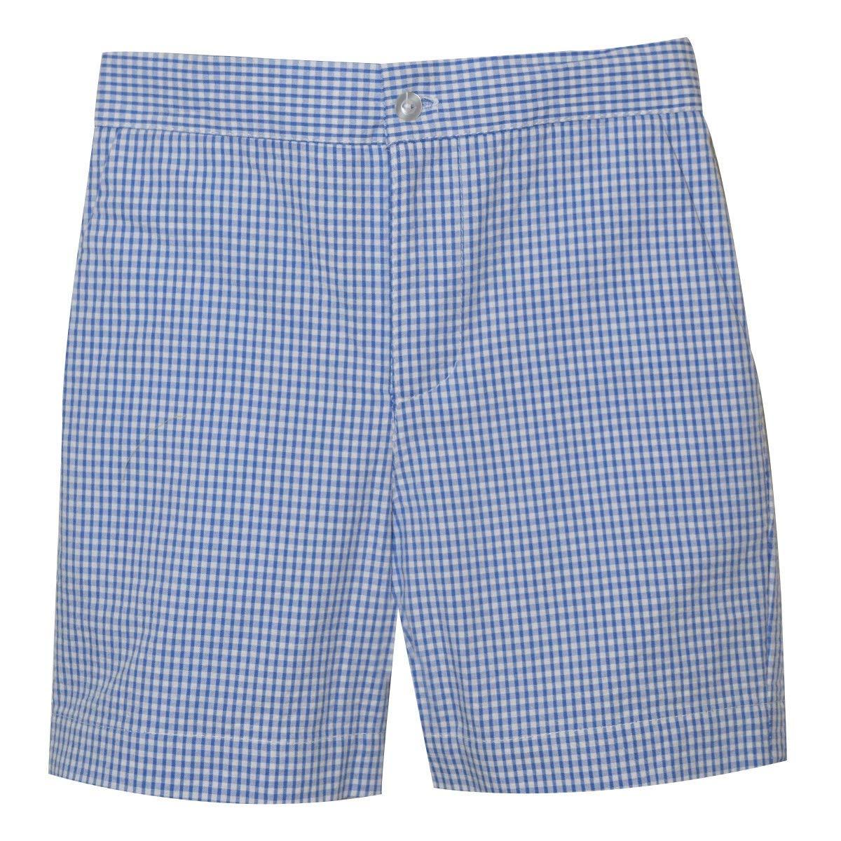 Betti Terrell Blue Check Seersucker Boys Zip Fly Short