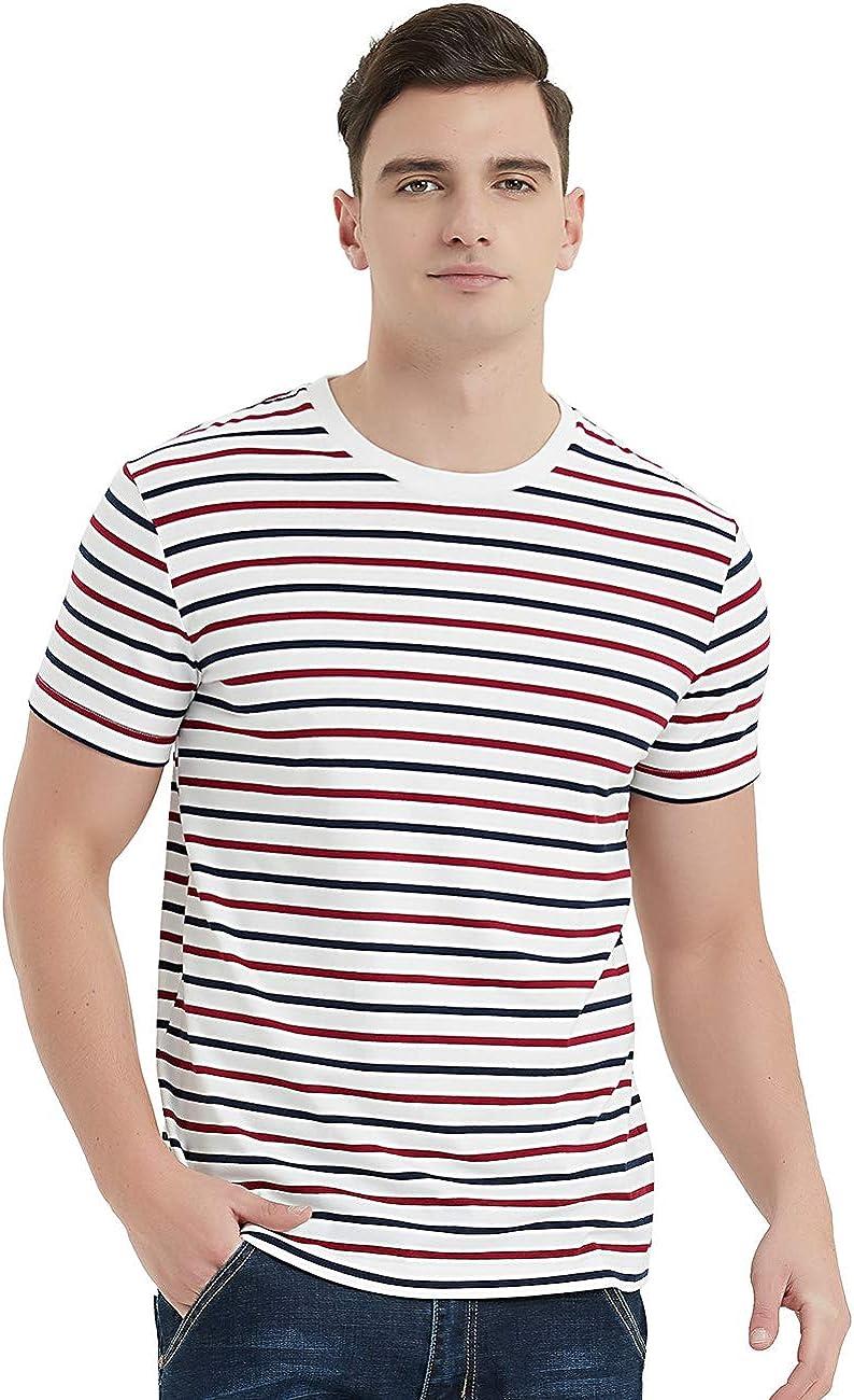 1950s Mens Shirts | Retro Bowling Shirts, Vintage Hawaiian Shirts Zengjo Mens Striped Shirt Short Sleeve T-Shirts  AT vintagedancer.com