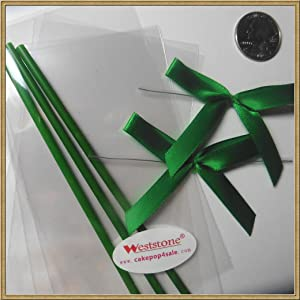 Cake pop sticks + clear bags + colorful ribbon bows (green)