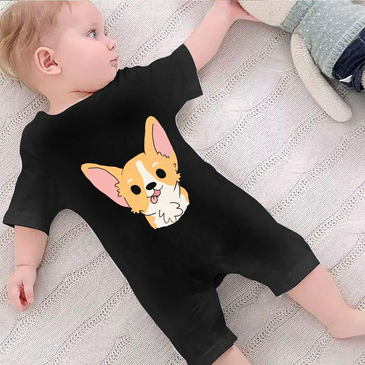 Baby Infant Boy Girl Short Sleeve Funny Corgi Jumpsuit Romper Pajamas Clothes Summer Outfits Black
