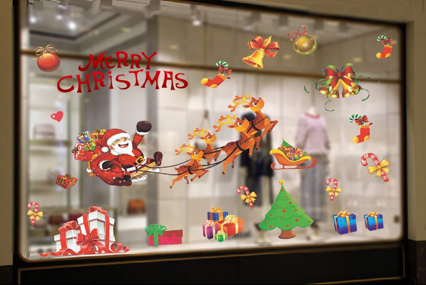 UMIPUBO Natale Vetrofanie Addobbi Natale Adesivi Statico Rimovibile Adesivi Murali Fai da te Finestra Sticker Decorazione Colorato Babbo Natale Alce Vetrina Wallpaper Adesivi (Natale)