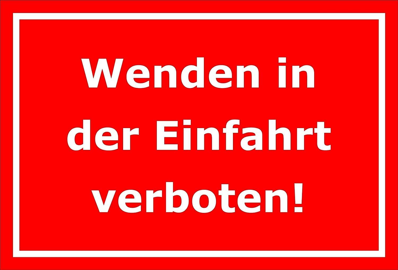 Melis Folienwerkstatt Schild 15x10cm S00065-099-D -20 VAR 3mm Aluverbund Wenden Einfahrt verboten Bohrl/öcher