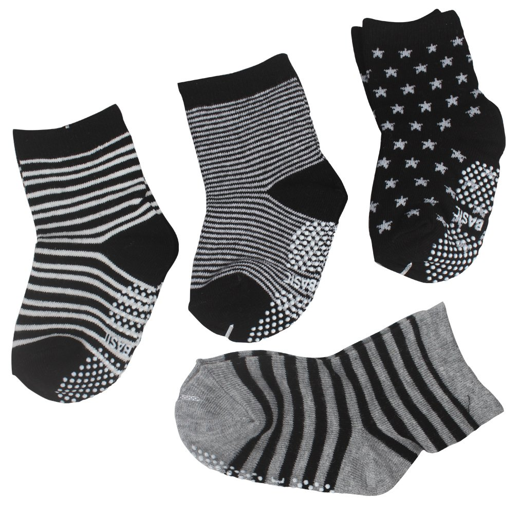 CIEHER Baby Boy Socks, 12 Pairs Non Skid Infant Socks for for Toddler Baby, Anti-Slip Baby Socks with Grip, 12 Colors