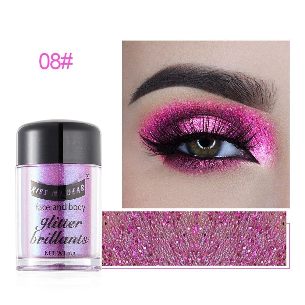 kiss my dear Polvo Brillantes de Sombras de Ojos Polvo Glitter Iluminador Facial Polvo de Resaltar para Maquillaje Facial Samber