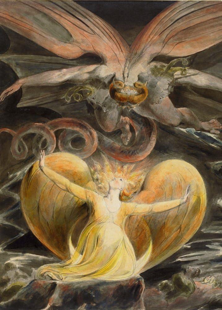 Demonología, Brujería, ocultismo y Magick el gran dragón rojo y la mujer vestido con el sol, detalle de William Blake c1805 – 10 250 gsm A3 brillante tarjeta de arte reproducción de