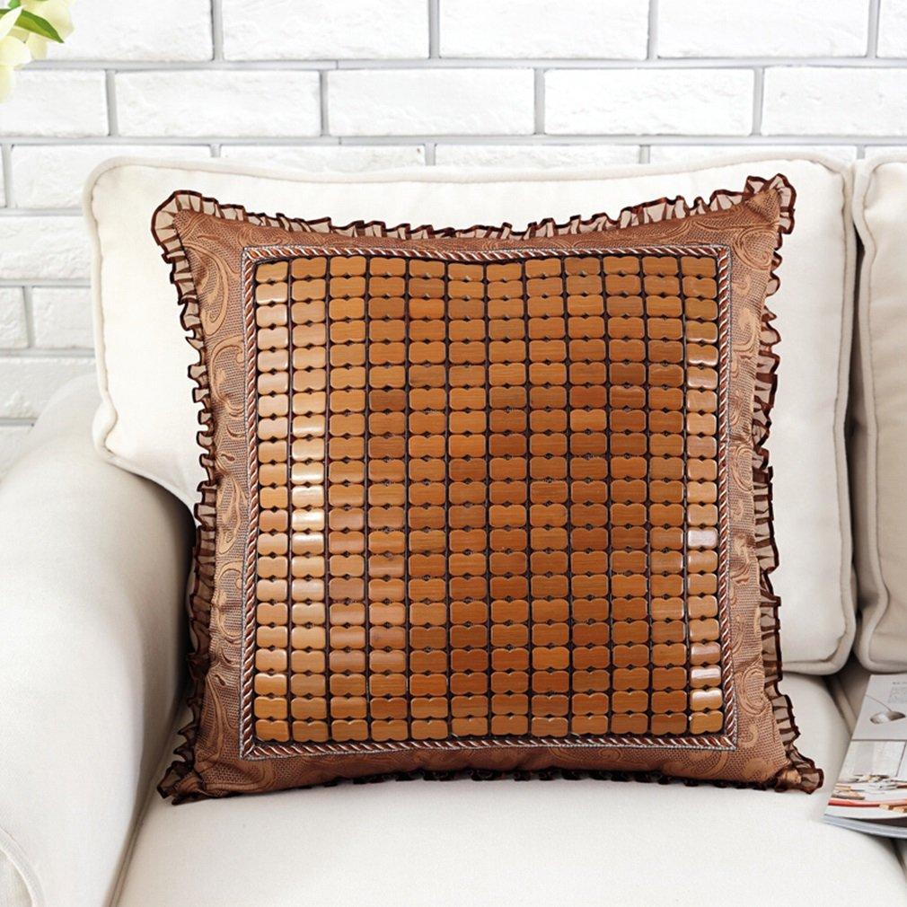 Almohadas Cojín Funda Alfombra de Verano Estera de bambú de Cojines del sofá Silla de bambú Oficina Transpirable Ordenador del Coche Lumbar 84459e