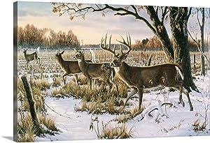 Cautious Crossing - Whitetails Canvas Wall Art Print, Deer Artwork