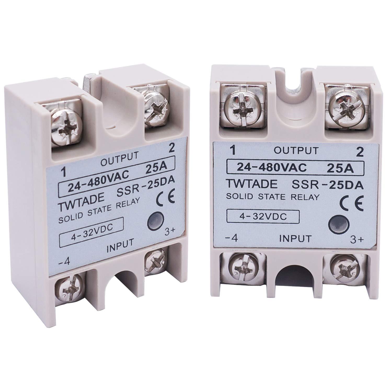 2PCS LOT 24V-380V 25A SSR-25 DA Solid State Relay PID Temperature Controller