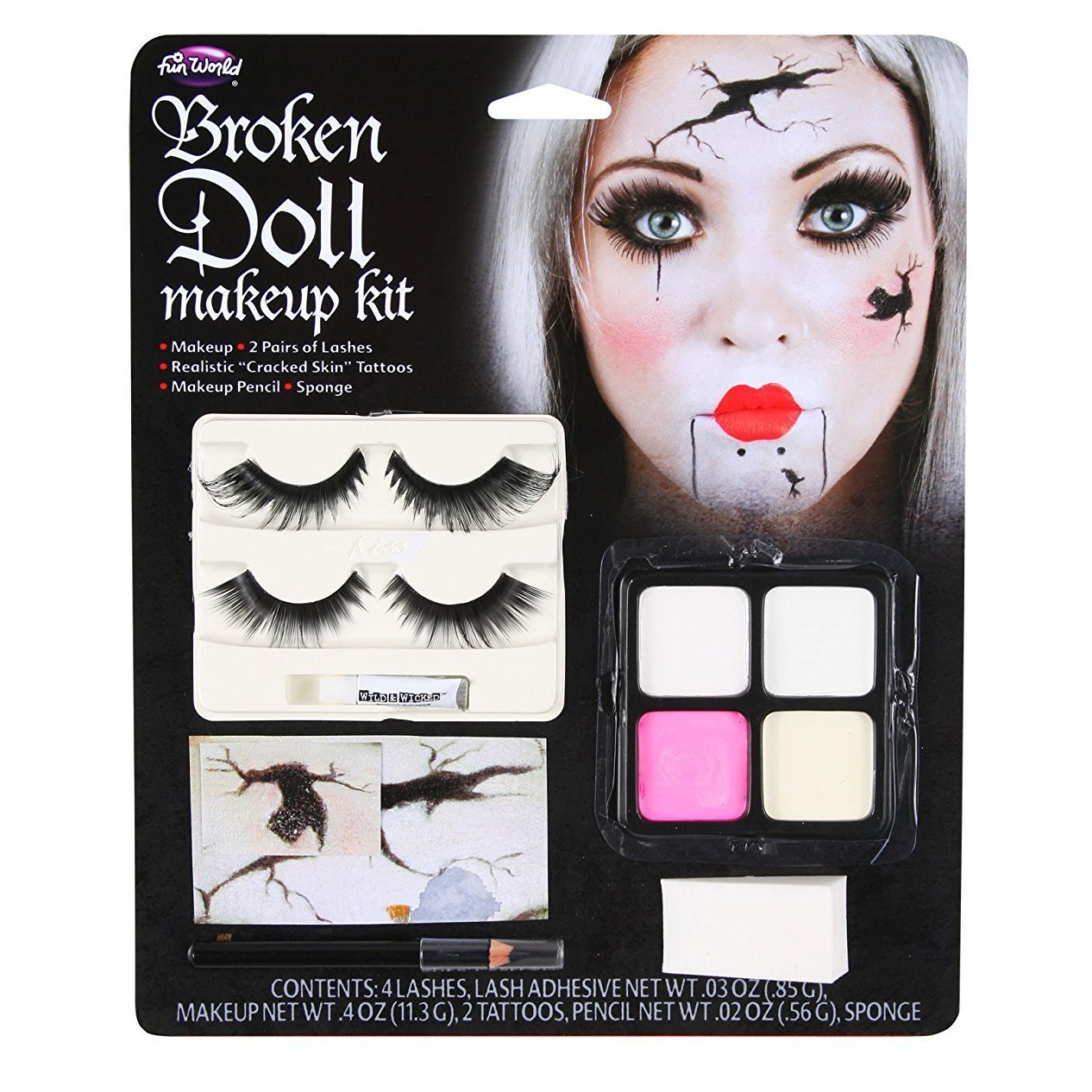 Broken Doll Makeup Kit Halloween Face Paint Fancy Dress (US) Funworld 5638BD