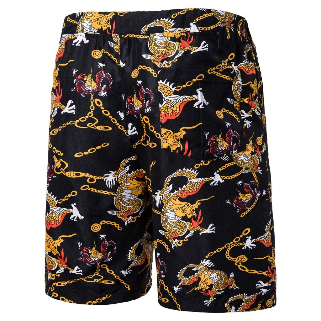 Black,Red Fullyday Mens Beachwear Board Shorts,Quick Dry Shorts Printed Pants