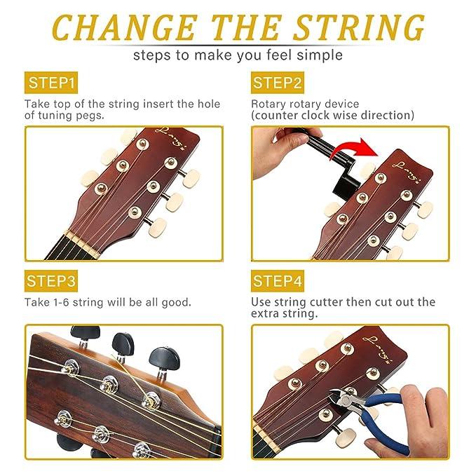Kit de accesorios de guitarra NASUM con cuerdas de guitarra, carretes de cable, alicates, afinador, tapones de puente y sujetadores de púa Un gran regalo ...