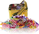 Wonder Clips-Pack of 100 Multipurpose Sewing Clips Craft Accessories for Sewing, Quilting, Crocheting, Crafting and Knitting,Tin Box Package, Assorted Colors