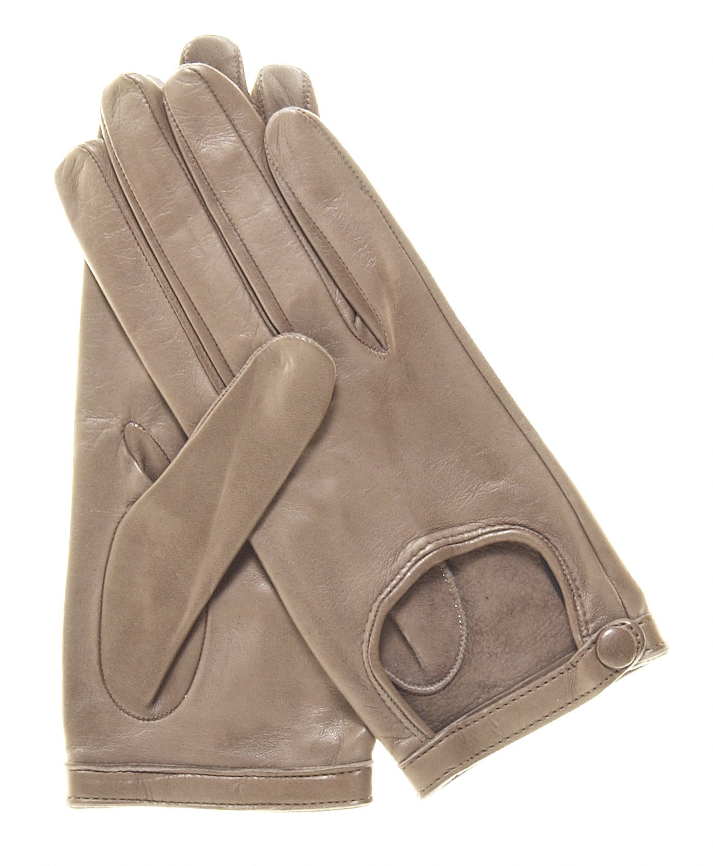 Fratelli Orsini Women's Classico Italian Lambskin Driving Gloves Size 7 1/2 Color Taupe