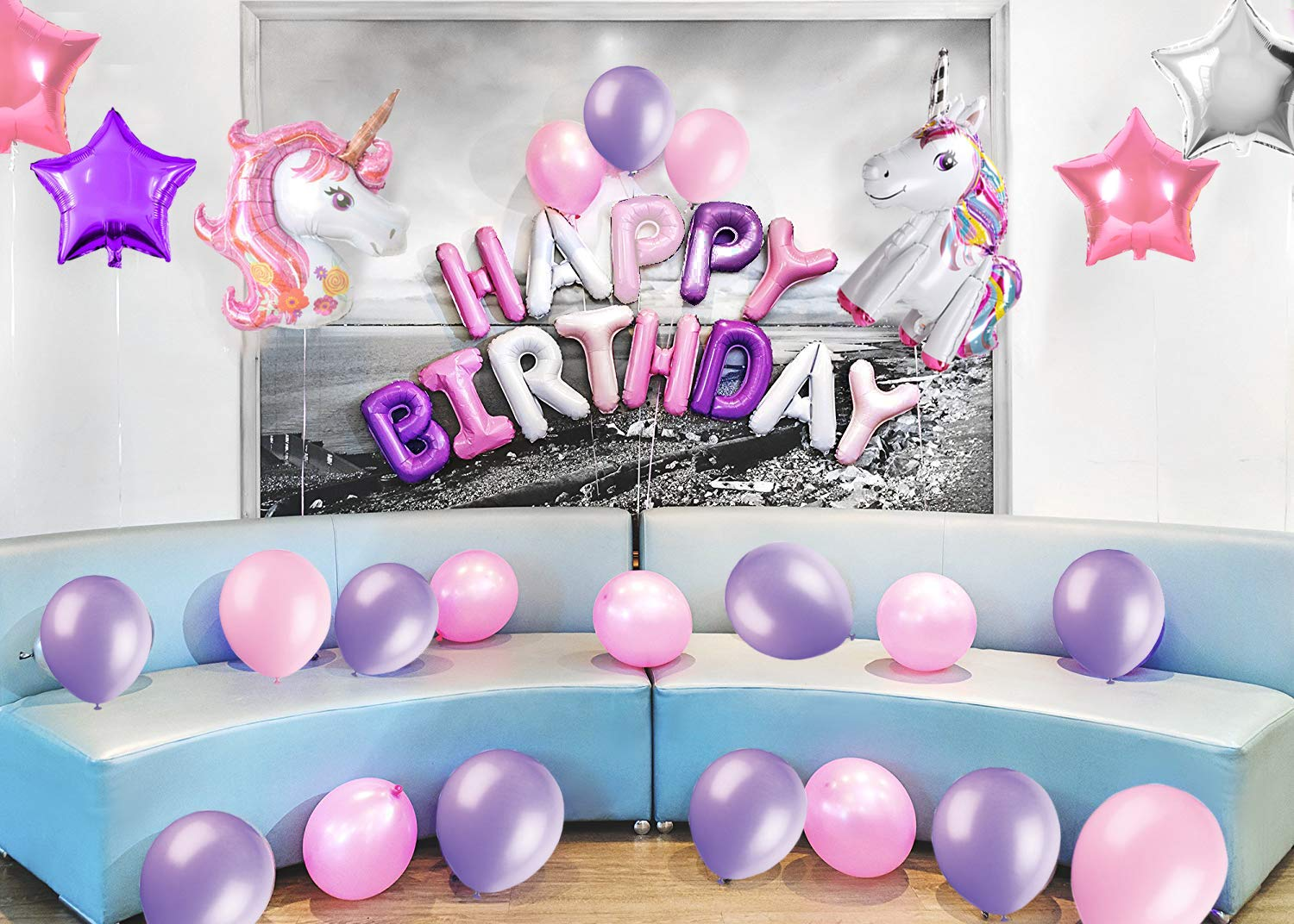 38Pack Magical Unicorn Party Supplies and Banner YJG Headband Unicorn Party Decorations with Bonus Unicorn Cake Topper Perfect for Birthday Party Balloons