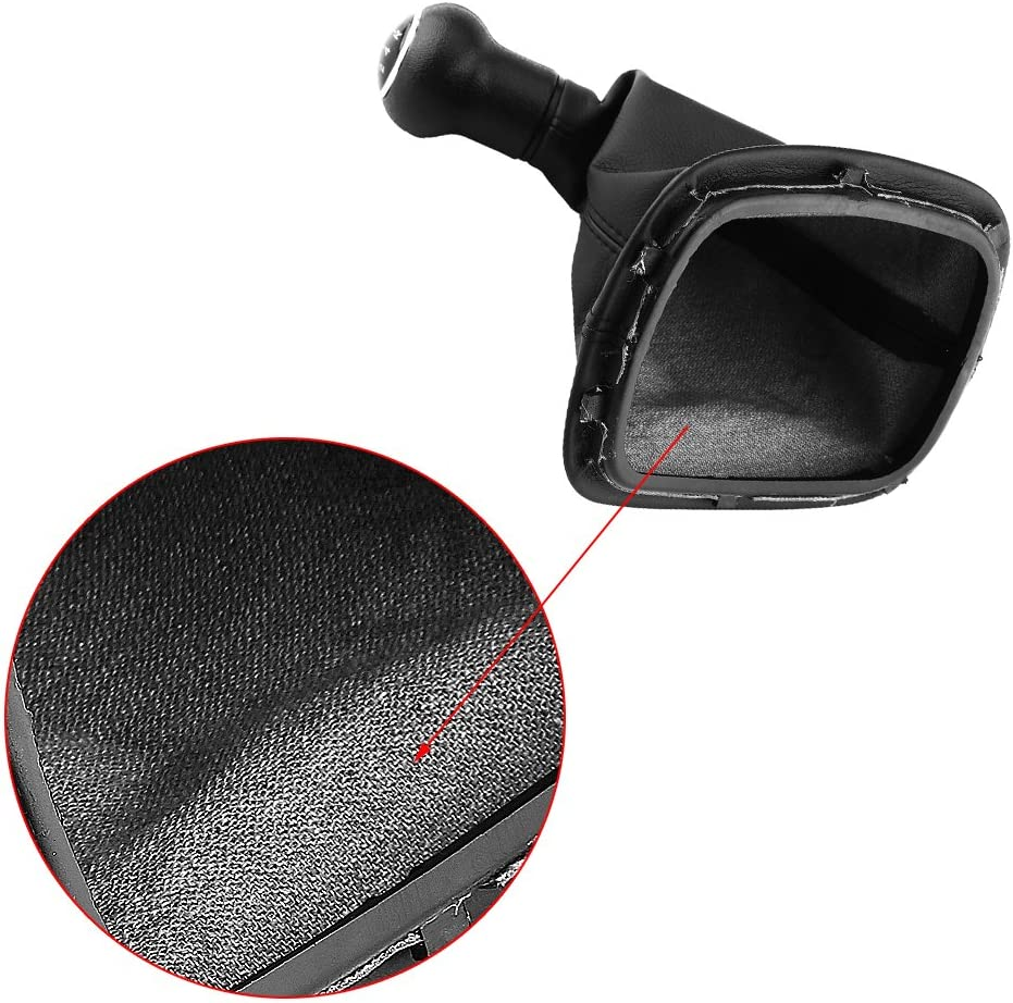 Manual Black Gear Shift Knob Kit 5 Speed Gear Shift Knob Gaiter Boot Cover Leather Gear Stick Cover Dust-proof Replacement for VW Passat B5