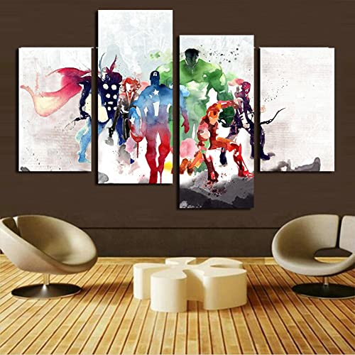H.COZY 4 Piece The Avengers Modern Art Canvas Wall Paintings Cuadros  Decorativos Canvas Prints