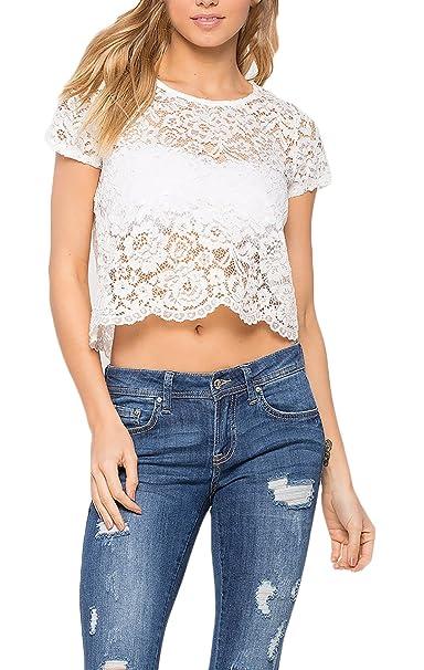 Camisetas Mujeres Verano Crop Tops Encaje Croché Corto Blusas Elegantes Clásico Especial Transparentes Camisas Slim Fit