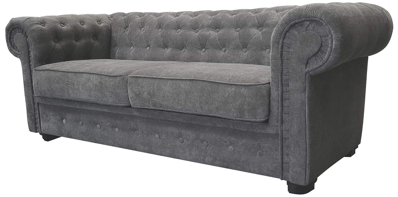 Chesterfield Style Corner Sofa Set 3 2 Seater Armchair Grey Fabric