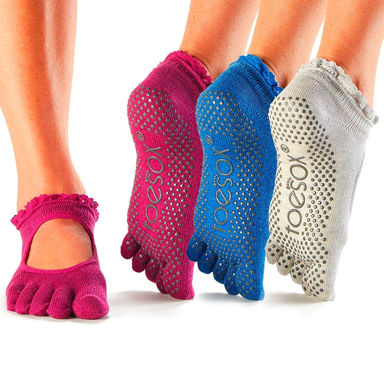 4fa262e53 ToeSox Full Toe Bella Grip Socks for Pilates, Yoga, & Barre (3 Pack ...