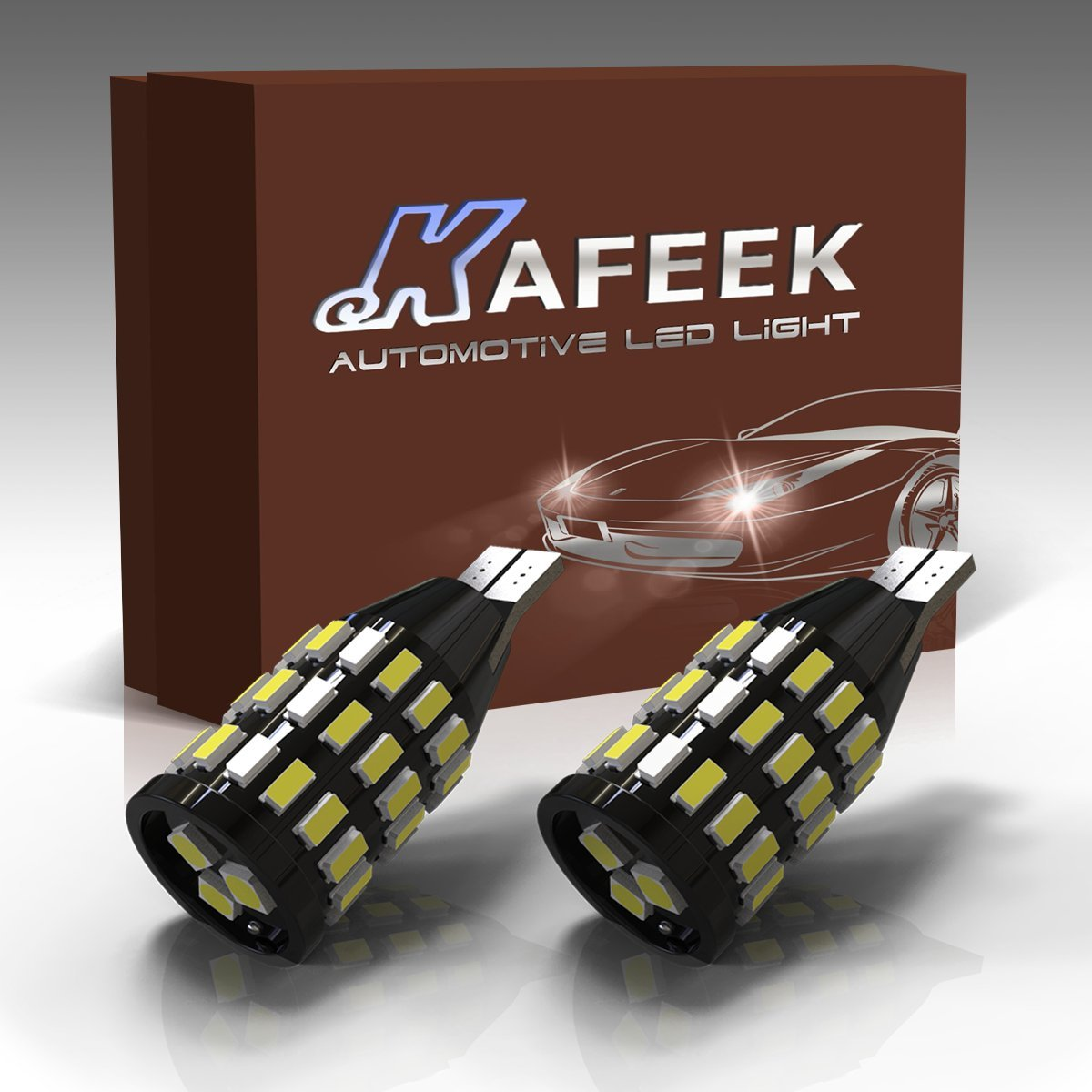KAFEEK 2x Extremely Bright Canbus Error Free 921 912 W16W LED Bulbs For Backup Reverse Lights, Xenon White