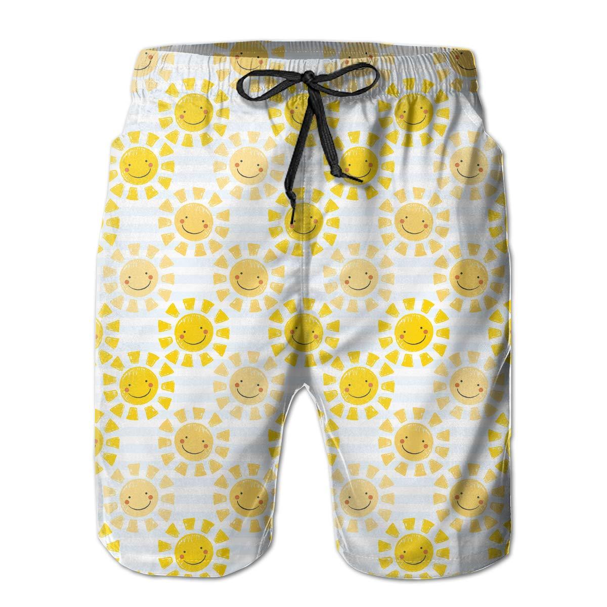 UHT28DG Cute Baby Sunshine Pattern Mens Boardshorts Fashion Swimming Shorts
