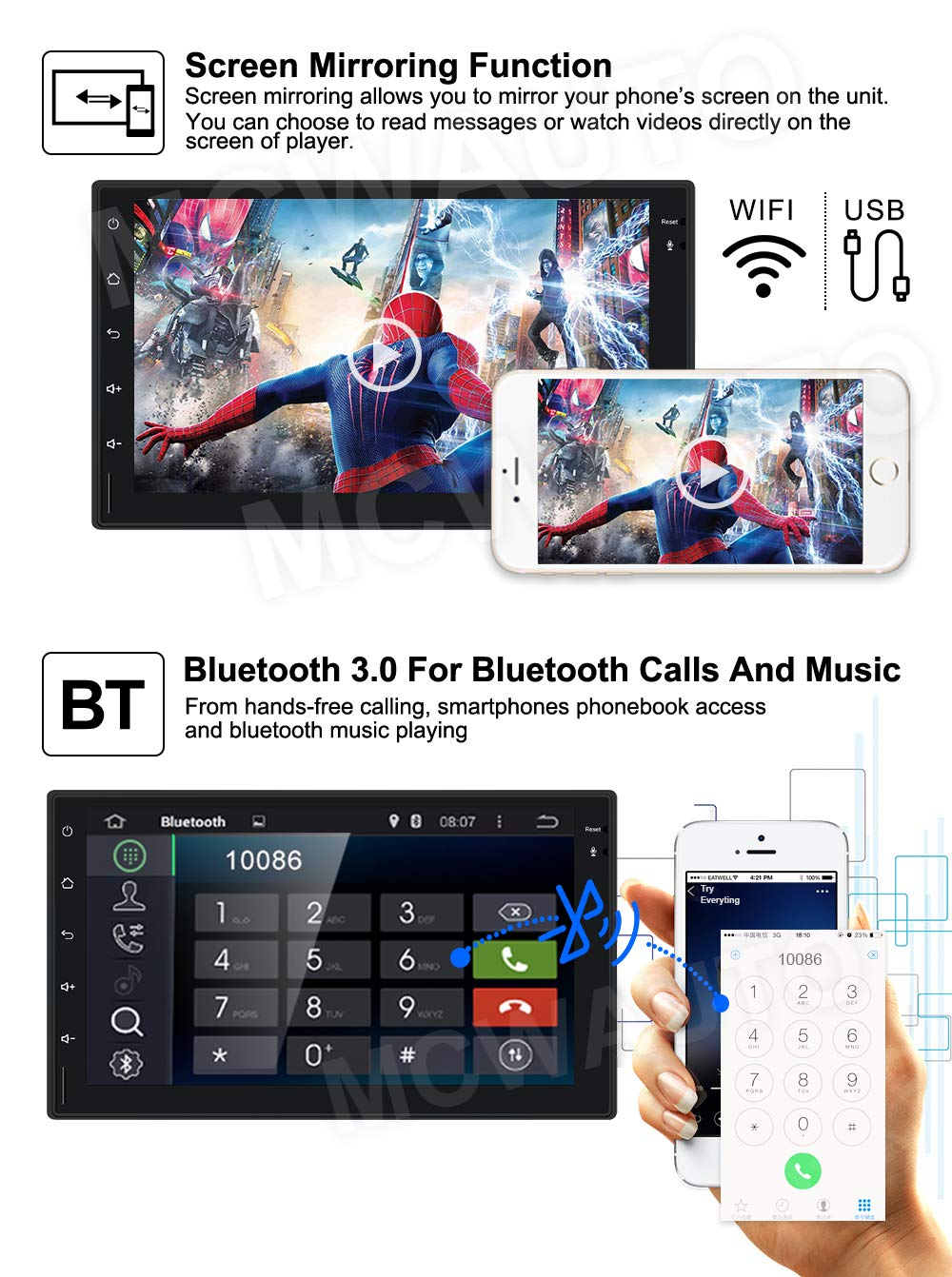 MCWAUTO 7 Inch Android 9.0 Car Media Player Universal Auto GPS Navigation with 4G WiFi Bluetooth Radio Rear Camera
