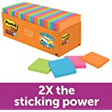 Post-it Super Sticky Notes, 4 Bright Colors, Cabinet Pack, Standard Size, Double Adhesion, Recyclable, 3 in x 3 in