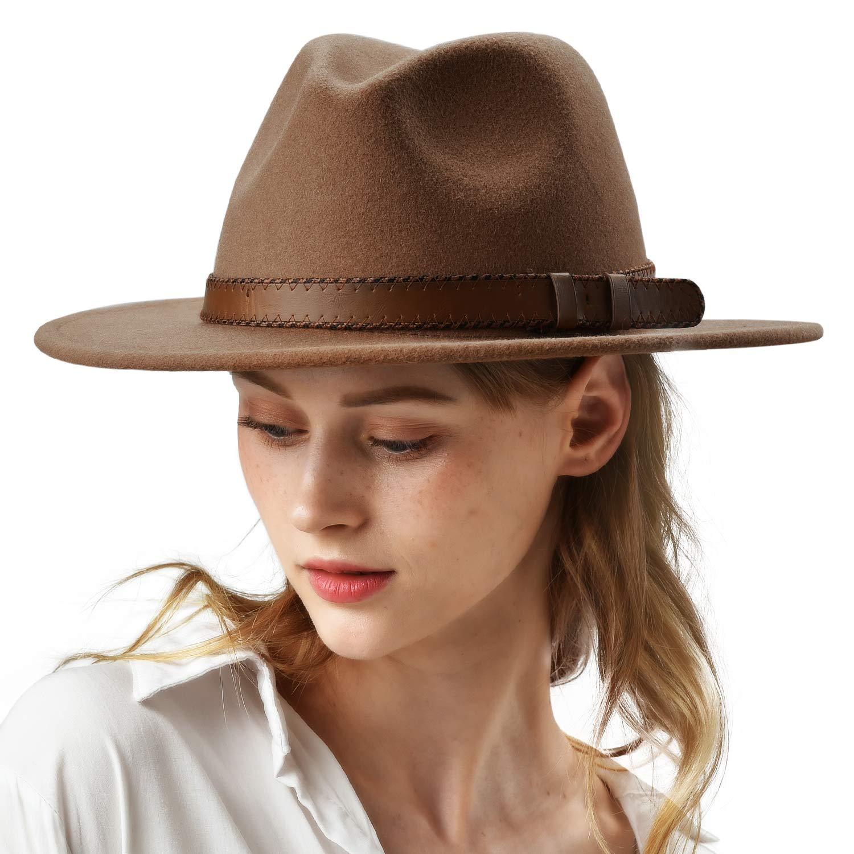 FURTALK Womens 100% Wool Fedora Hat with Belt Buckle Wide Brim Felt Panama Hats Beige by FURTALK