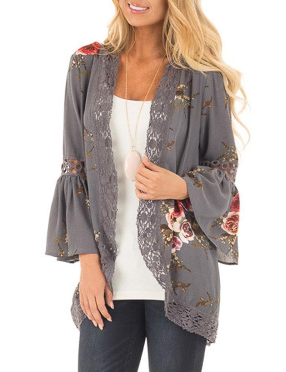 Yiwa Stylish Women Printed Lace Cardigan Mandarin-Sleeve Splicing Tops Gift Gray M