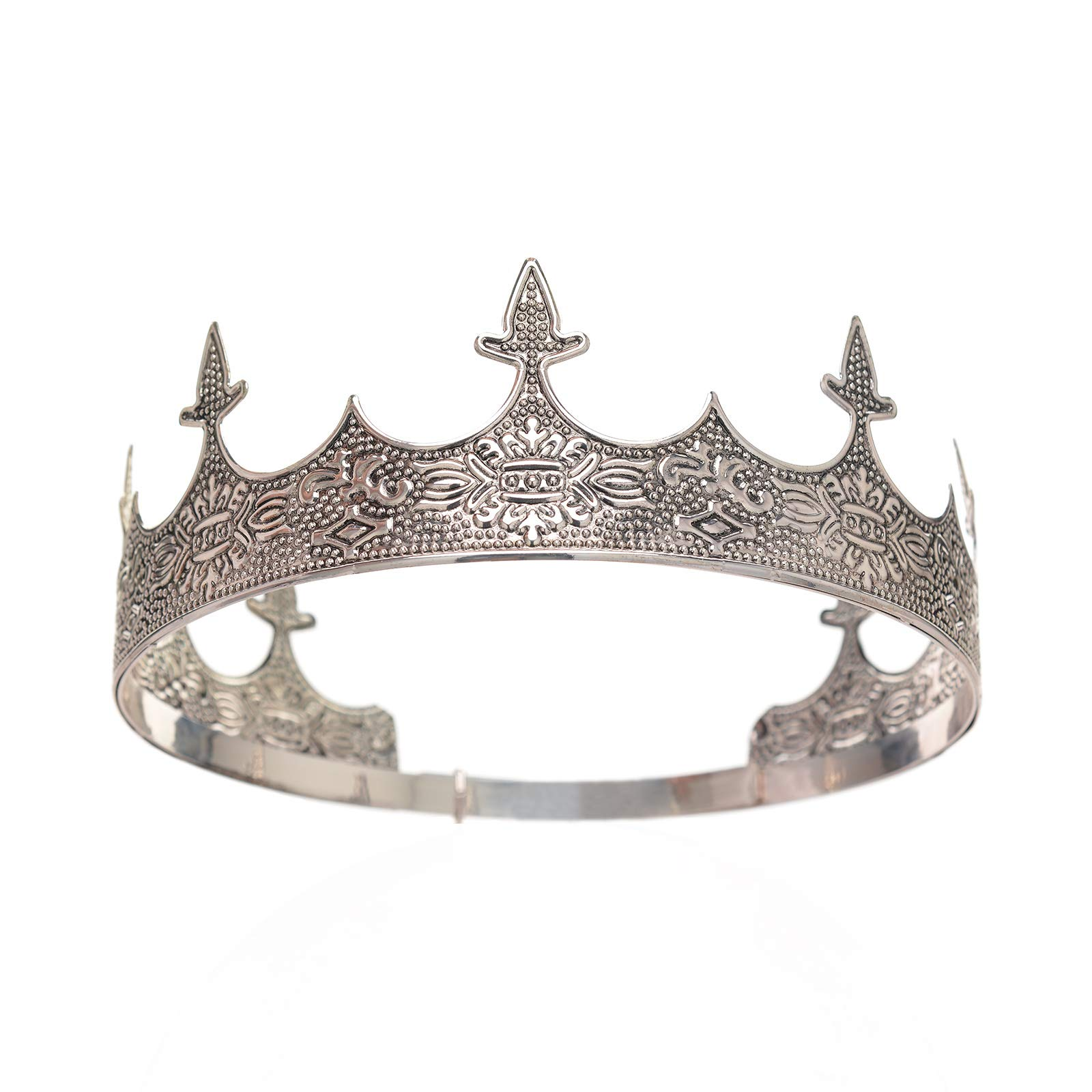 SWEETV Antique Silver King Crown - Men's Crown for Prom King Party Decorations, Royal Medieval Crown and Scepter Costume Accessories for Adults and Boys