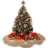 AerWo Snowflake Tree Skirt Ornaments Rustic Burlap Christmas Tree Skirts Xmas Tree Decoration Christmas Party Supplies 30 inch 2.5ft