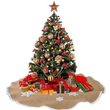 AerWo Snowflake Tree Skirt Ornaments Rustic Burlap Christmas Tree Skirts  Xmas Tree Decoration Christmas Party Supplies