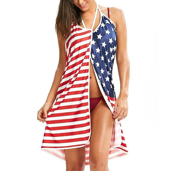 ZFFde Traje de Baño de Las Mujeres American Flag Correa de Espagueti V Cuello Abrigo Cubren Vestido de Playa para el Vestido de Fiesta: Amazon.es: Ropa y ...