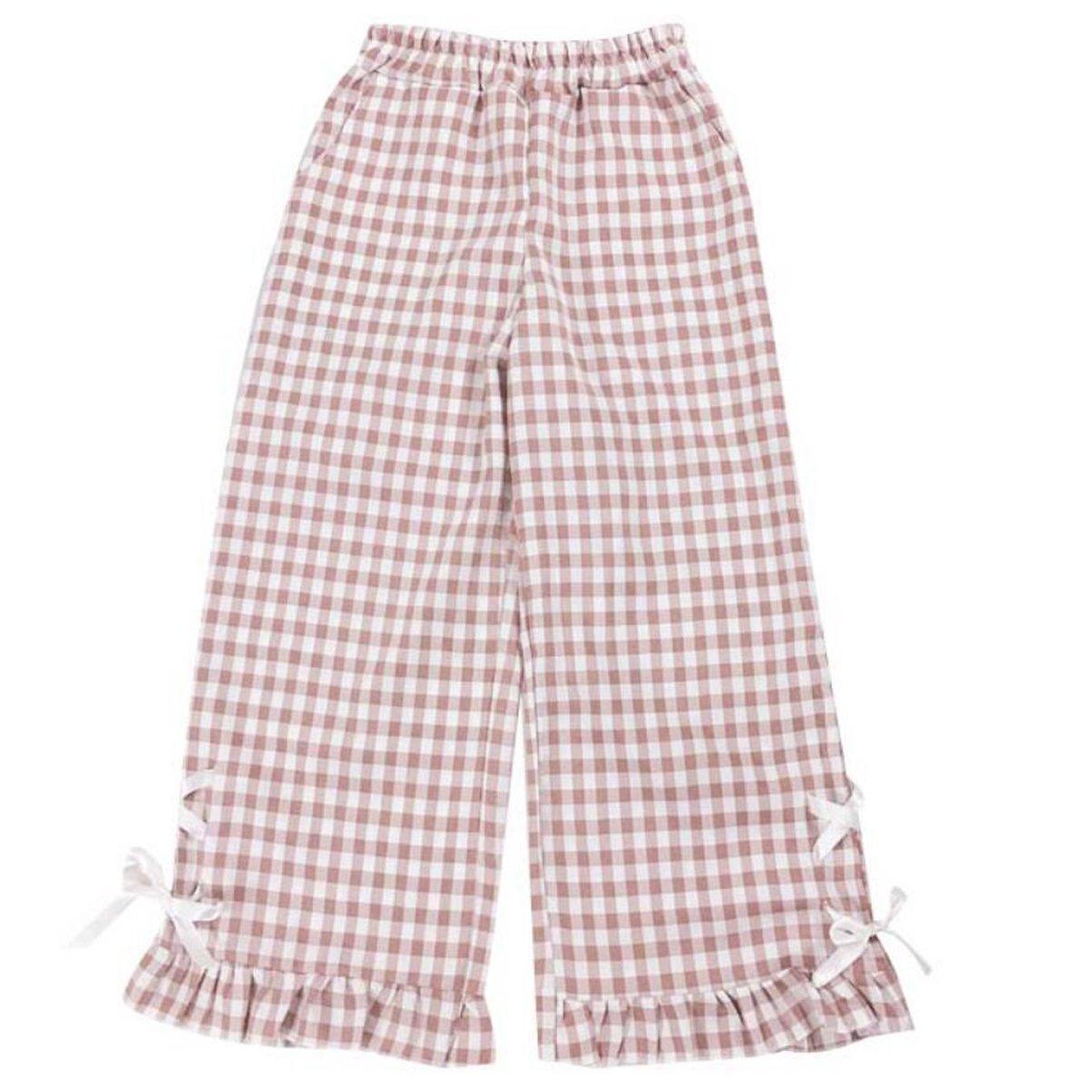 NSOKing Lolita Soft Girls Japanese Summer Grid Bow Retro Pants Trouser (One Size, Pink)