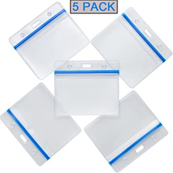 """1 PC-Horizontal Style ID Card Name Tag Business Badge Holder Clear 4.50/"""" X 3.25/"""""""