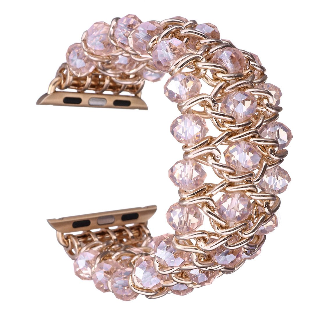 Gets for Apple Watch Band Design Classy Retro Crystal Beaded Stretch Elastic Watch Strap for Iwatch Band (Pink,38mm)