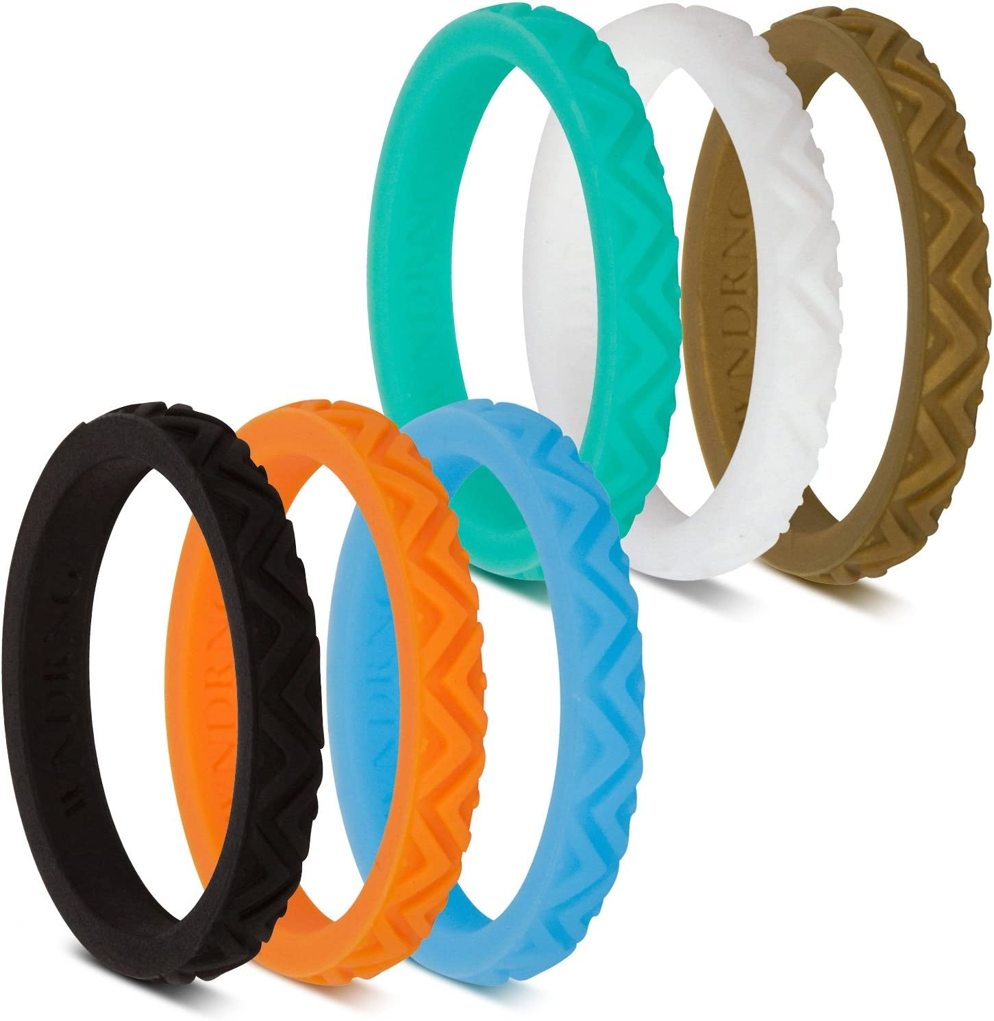 Nppwljj Stackable Silicone Wedding Ring for Gym Sports Outdoor Women Durable Rubber Band Pack of 3-7-10
