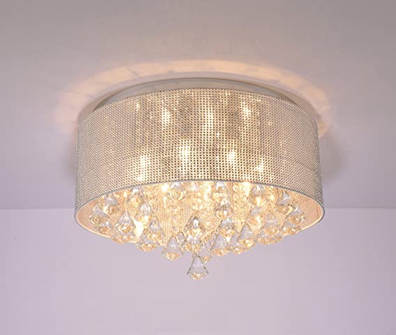 Modern Crystal Pendant Light in Cylinder Shade, Drum Style Home 5 ...