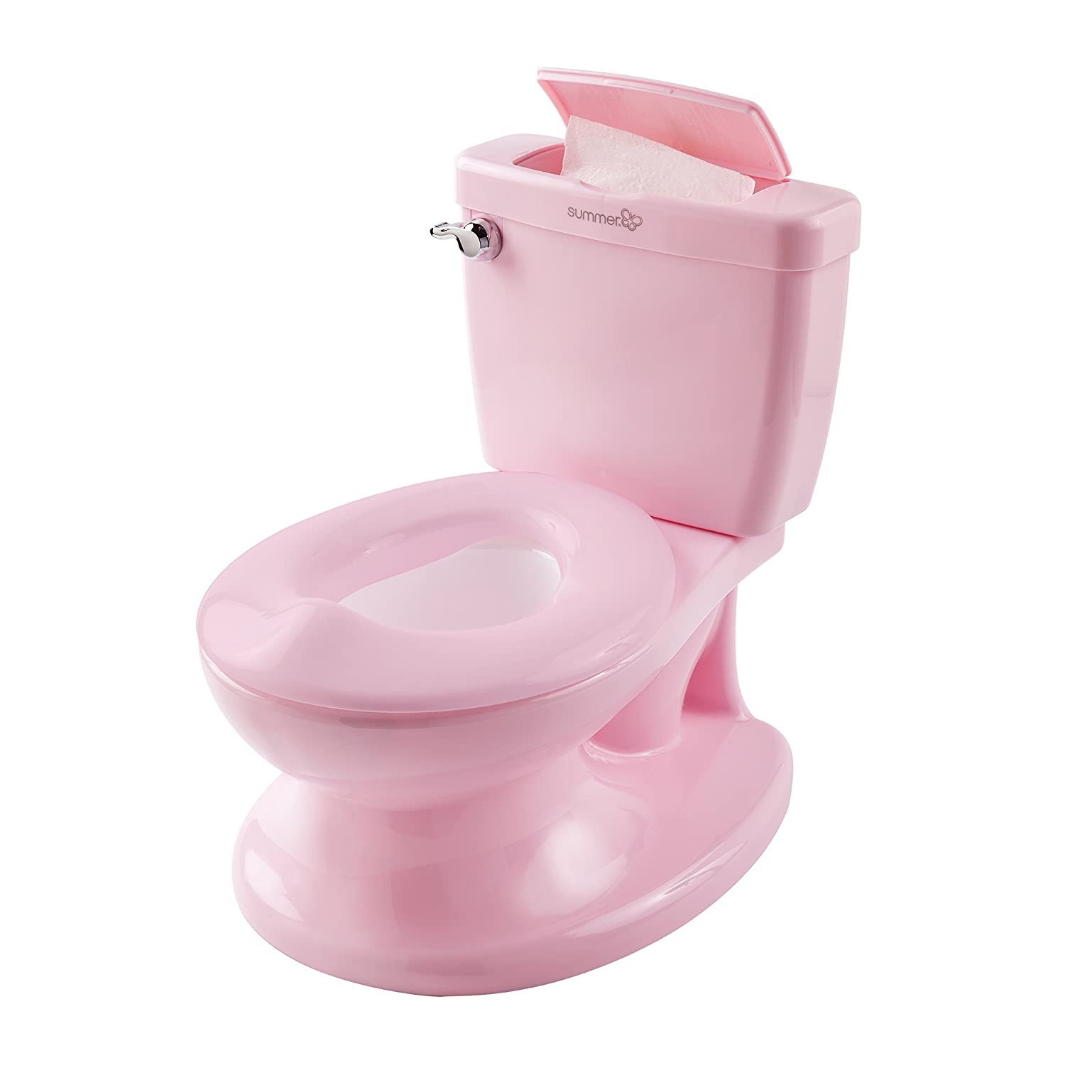 Summer Infant My Size Potty (Pink) - Training Toilet for Toddler Girls - with Flushing Sounds and Wipe Dispenser 11525