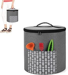 Yarwo Pressure Cooker Dust Cover with Bottom Compatible with 6 Quart Instant Pot, Portable Storage Bag with Pockets and Top Handle, Gray with Arrow (Patent Pending)