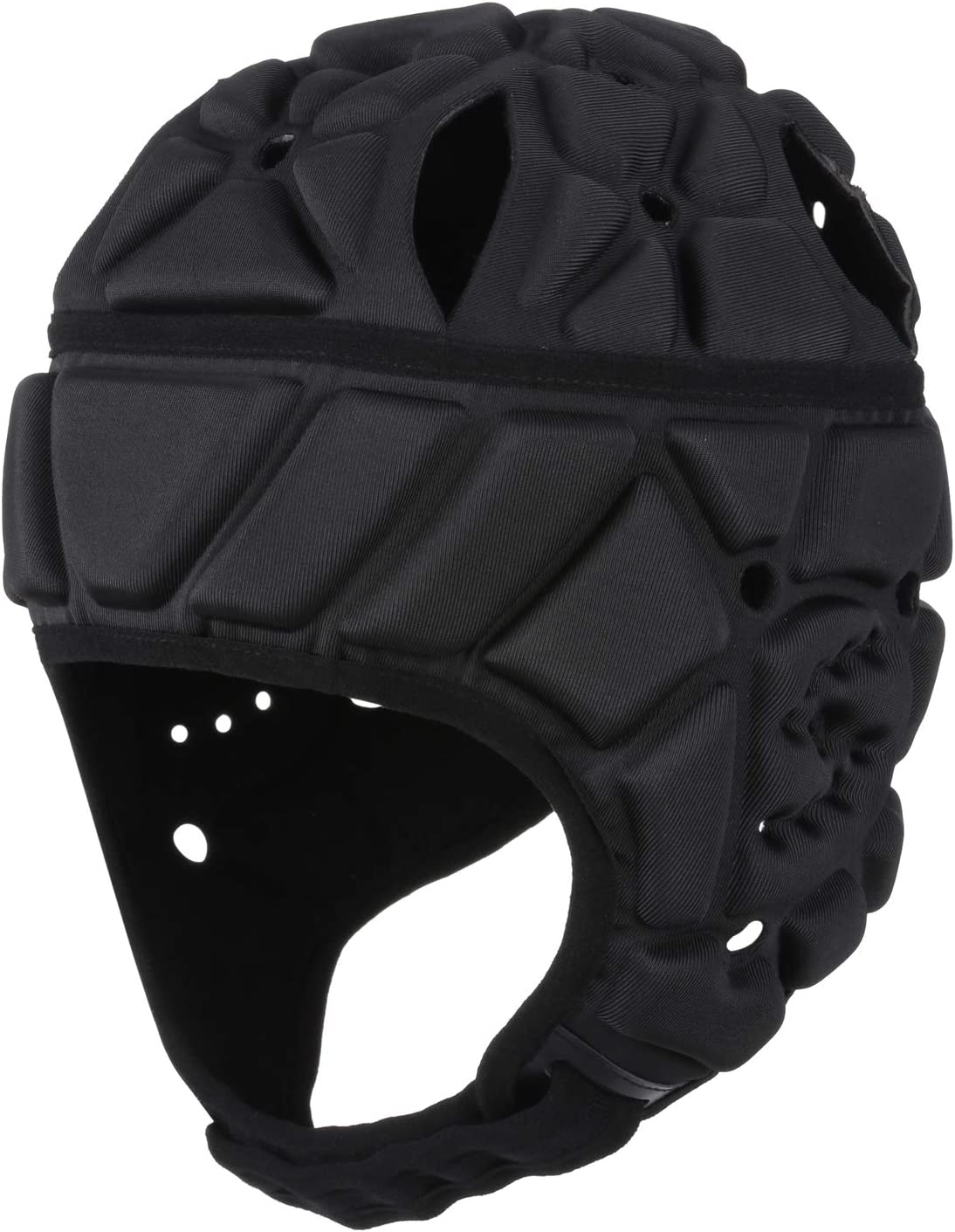 Surlim Soft Helmet Flag Football Rugby Helmet Scrum Cap Soft Shell Helmet Soccer Headgear Special Needs Head Protection for Youth Adults (Black, Large) : Sports & Outdoors