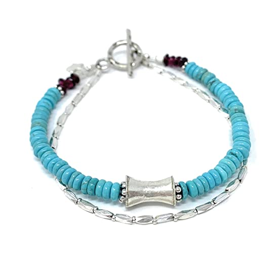 Silver Turquoise Bracelet Boho Bracelet Genuine Turquoise Bracelet Turquoise Bracelet 92.5 Sterling Silver Bracelet Bohemian Jewelry