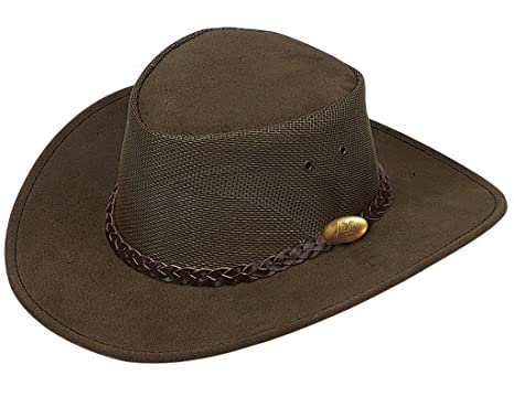 4ff74348b Jacaru Men's Genuine Cowhide Leather Summer Breeze Outback Hat, Brown  (Small)