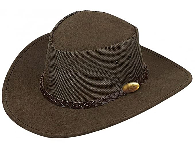 Jacaru Men s Genuine Cowhide Leather Summer Breeze Outback Hat ... 8fc8b7daa131