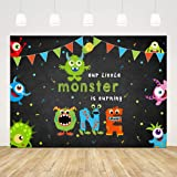 Our Little Monster is Turning One Theme 1st Birthday Party Backdrop Boy Girl Baby Shower Photography Background 7x5ft…