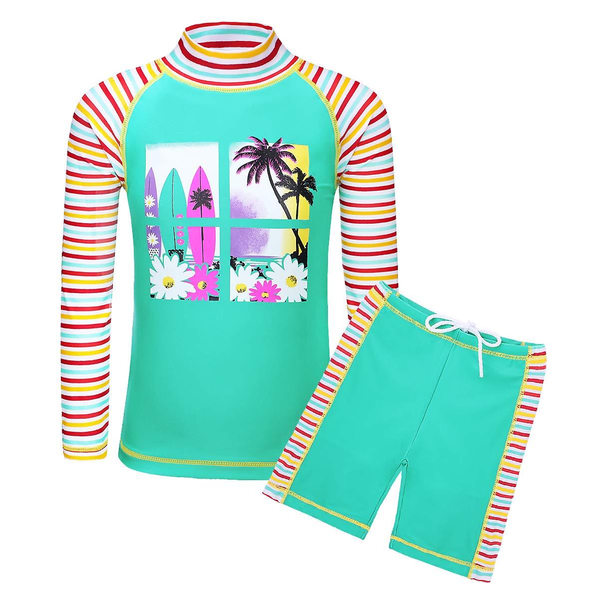 TFJH E Kids Girls Two Piece UPF 50+ UV Swimsuit Rash Guard Suit 3-12 Years