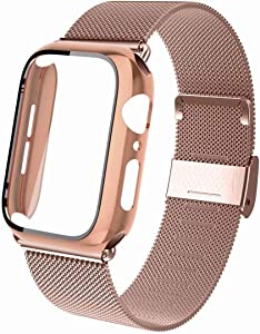Aipeariful Compatible with Apple Watch Bands 38mm 40mm 42mm 44mm with Screen Protector Hard Case,Stainless Steel Mesh Loop Wristband with Screen Protector Hard Case for Iwatch Series 1/2/3/4/5/6/SE